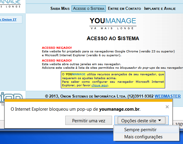 Como permitir pop-ups no Internet Explorer
